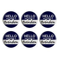 Brendon Hello My Name Is Plastic Resin Button Set of 6