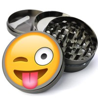 Emoji Tongue Hanging Out Extra Large 4 Chamber Herb Grinder With Mesh Screen - Custom Grinders On Sale