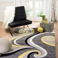 2984 Yellow Abstract Contemporary Area Rugs