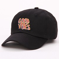 Good Vibes Dad Hat Embroidered Baseball Cap Curved Bill 100% Cotton Casquette Brand Snapback Bone Women Men Fashion Hats