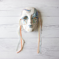 Vintage Hand Painted Unglazed Porcelain Mardi Gras Face Mask with Ribbon for Hanging | Wall Decor | Made in China