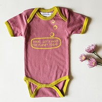 Ideo Let's Save the Planet Pink Organic Onesuit