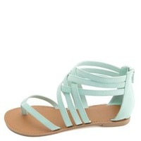 Qupid Strappy Ankle Cuff Thong Sandals by Charlotte Russe - Mint