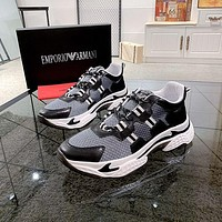 Armani Men Fashion Boots fashionable Casual leather Breathable Sneakers Running Shoes-6