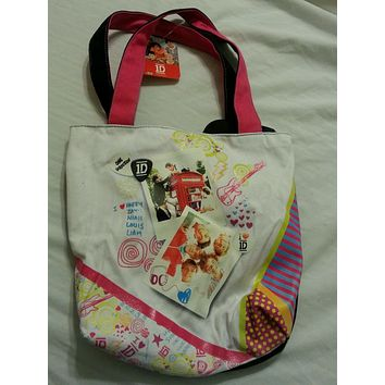 One Direction Girls Bookbag Tote Handbag NEW Multi 1D
