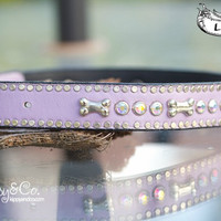 Lavender Leather Collar With Bones and Crystals