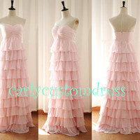 Long Blusn Pink Chiffon Ruffled Bridesmaid Dress Coral Mint Peach Grey Red Green Prom Dress/Wedding Party Dress/Evening Dress/Formal Dress