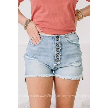 Show Me The Way Distressed Denim Shorts