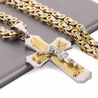 """Multilayer Cross Christ Jesus Pendant Necklace Stainless Steel Link Byzantine Chain Heavy Men Jewelry Gift 21.65"""" 6mm MN0078"""