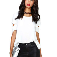 White Ripped Sleeve V-Cut Back Top