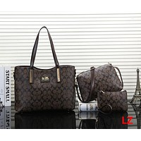 Coach Women Fashion Leather Satchel Bag Shoulder Bag Handbag Set Three Piece