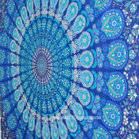 Twin Indian Blue Hippie Mandala Tapestry Wall Hanging Boho Gypsy Decor - RoyalFurnish.com