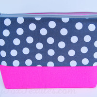 Gray Polka dot and Neon Pink cosmetic case handmade of designer fabric / zipper pouch / organizer / clutch