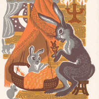 Postcard Drawing by K. Ovchinnikov for Lithuanian Folk Song -- 1969