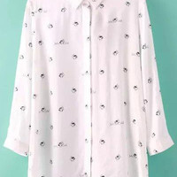 White Long Sleeve Cartoon Print Blouse