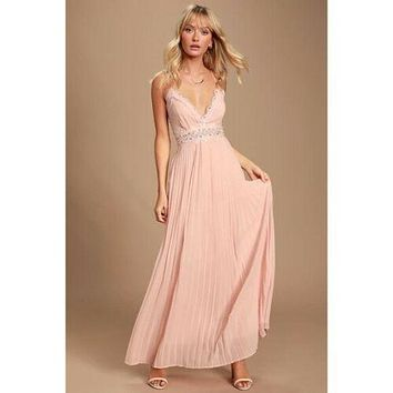 Lulus Romantic Intentions Blush Pink Lace Pleated Backless Maxi Dress