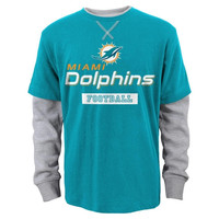 Miami Dolphins Youth Puzzled Faux Layer Long Sleeve T-Shirt – Aqua - http://www.shareasale.com/m-pr.cfm?merchantID=7124&userID=1042934&productID=546718658 / Miami Dolphins