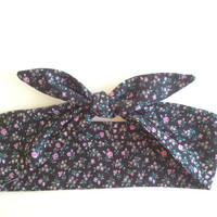 Dolly Headband, Tie-Up - Black with Small Purple Flower Print -  READY TO SHIP!