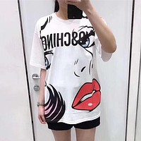 """Moschino"" Women Loose Casual Fashion Beauty Pattern Print Short Sleeve T-shirt Top Tee"