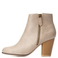 Taupe Qupid Zip-Up Chunky Heel Booties by