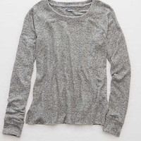 Aerie Real Soft® Crew Sweatshirt, True Black