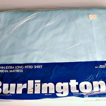 Twin Fitted Sheet Bue Extra Long Percale Sheet  Bedding In Original Package Unopened New Old Stock Vintage Burlington