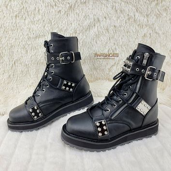 Valor 280 Goth Combat Biker Ankle Boots Black Matte Men US Sizes NY RESTOCK