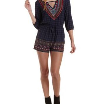 Navy Combo Strappy Border Print Romper by Charlotte Russe