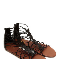 Bamboo Relaxed Gladiator Black Sandals