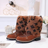 lv louis vuitton trending womens men leather side zip lace up ankle boots shoes high boots 233