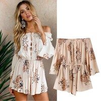 Women's Fashion Sexy Hollow Out Print Chiffon Jumpsuit [16054517786]