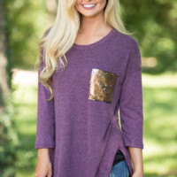 Sequins fall and winter long-sleeved purple shirt pocket top blouse