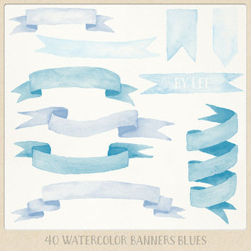 Watercolor clipart banners and ribbons (40 pc) blue light blue lavender. painted clip art for logo design, blogs, cards printables wall art