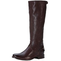 Melissa Button Back Zip Boot in Dark Brown by The Frye Company