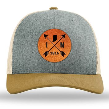 Indiana State Arrows - Leather Patch Trucker Hat