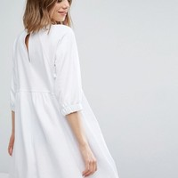 ASOS Cotton Smock Dress with Elastic Cuff Detail at asos.com