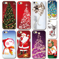 """New Christmas gift Phone case for iphone 6 4.7"""" lovely Santa Claus Tree Snowman Painted red green Back Hard plastic Cover 6s"""