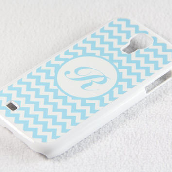 Stylish Sky Blue Monogram Chevron Samsung Galaxy S4 + S3 Rubber Case and S2 NOTE 2 Hard Cover Case