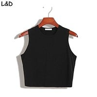 Fitness Skinny Crop Top  Women Tight Bustier Crop Top Skinny T-Shirt Belly Casual Dance Tops Vest Tank Tops
