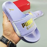 PUMA summer new beach casual slippers gold letters purple