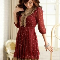 Beautiful V Collar Dotted Fashion Dresses : Wholesaleclothing4u.com
