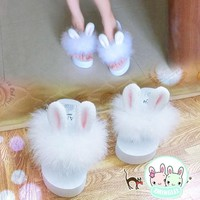 2018 So Kawaii Japanese Style Lolita Girl Rabbit Bunny Ear Plush Shoes Wedge Platform Thong Flip Flop Slippers