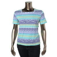 Alfred Dunner Womens Petites Pattern Beaded Pullover Top