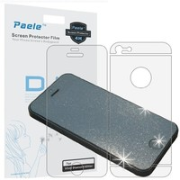 Paele Glitter Silver Diamond Sparkling Screen Protector for Iphone 5 , Front and Back, Back film 3 section type