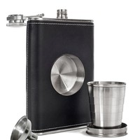 Leather Hip Flask with Built-in Collapsible Shot Glass & Flask Funnel