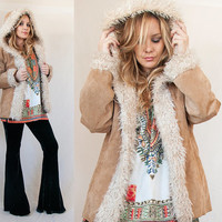 90s 80s Suede Suede and Faux Fur Hooded Penny Lane Coat Size M | Womens Mediums Vintage Camel Tan Leather Fur Trim Hippie Jacket with Hood