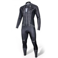 Spider-man Black Costume Cycling Kits Bicycle Suit Long Jersey