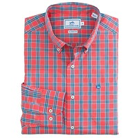 Port Royal Plaid Sport Shirt in Sunset Coral by Southern Tide