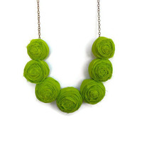 St Patricks Day bright green fabric bib necklace jewelry party gifts and weddings spring accessory