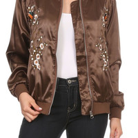 Sparrow Satin Embroidered Bomber Jacket